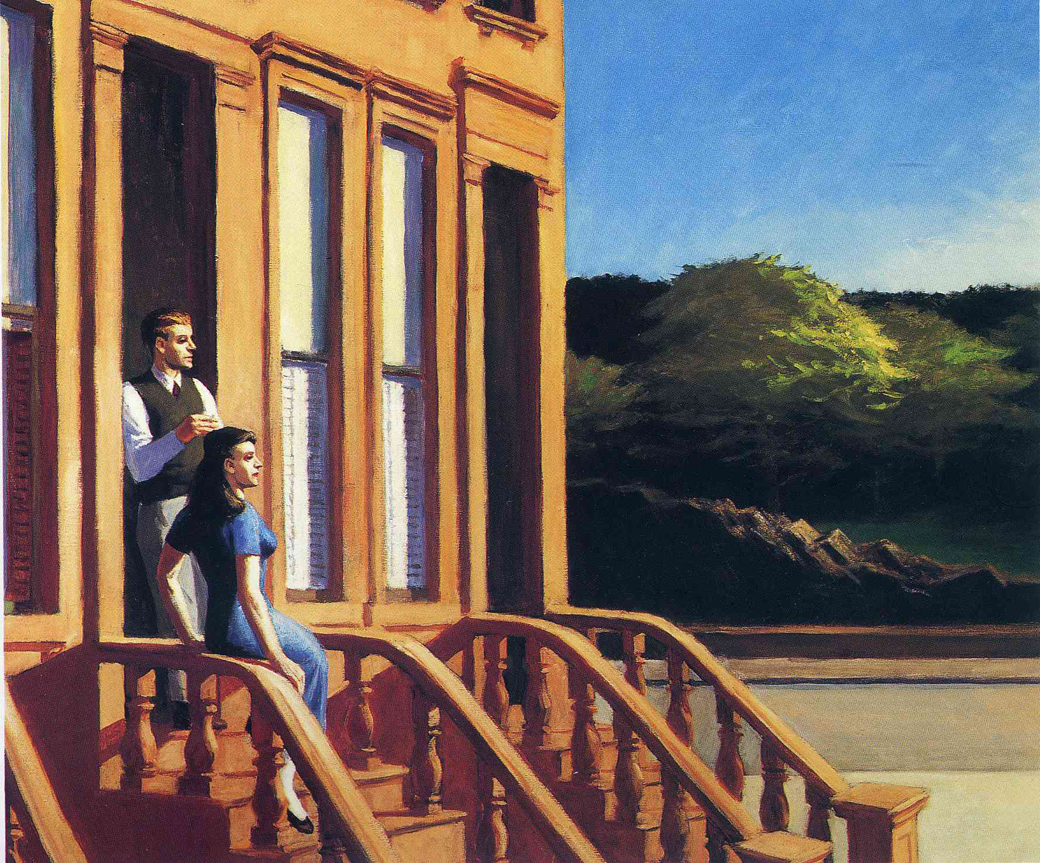 Edward_Hopper-SunlightOnBrownstones1956